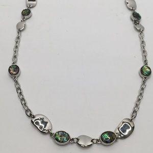 Lia Sophia Silver Jeweled Chain Necklace